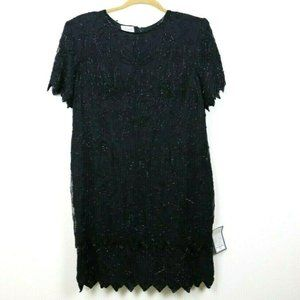 Stenay Womens Dress Sequins Beaded Silk Black 3X